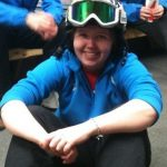 Cara Schwarz in Ski helmet and goggles