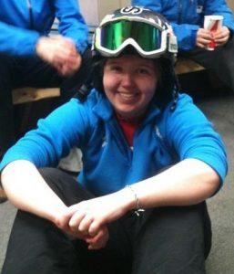 Cara Schwarz in Ski helmet and goggles